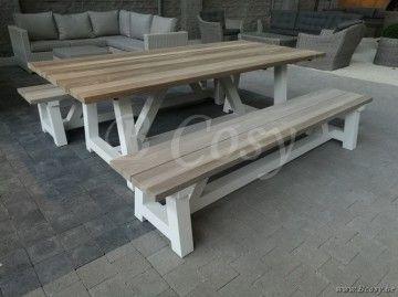 Gescova azur cassano rechthoekige tafel aluminium wit blad in