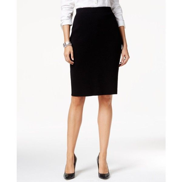 Charter Club Solid Sweater Pencil Skirt ($60) ❤ liked on Polyvore featuring skirts, deep black, black skirt, knee length pencil skirt, black knee length skirt, black fitted skirt en charter club skirts