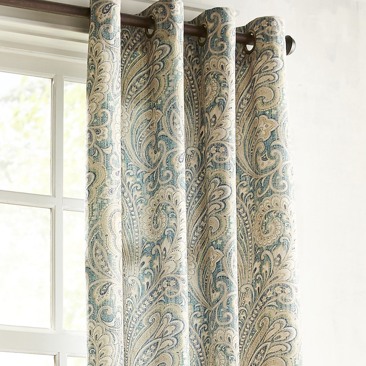 """Seasons Paisley Teal 96"""" Grommet Curtain  Teal Teal Curtains And Enchanting Teal Living Room Curtains Design Inspiration"""