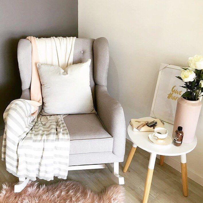 Our cement/white Oslo rocker surrounded by some gorgeous goodies at Hobbe stockist @avalonlifestylestore
