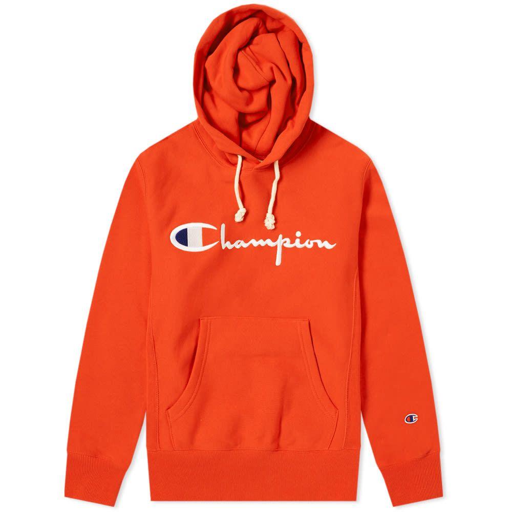 Champion Reverse Weave Script Logo Hoody In Orange Modesens Hoodies Champion Hoodie Champion Clothing [ 1000 x 1000 Pixel ]
