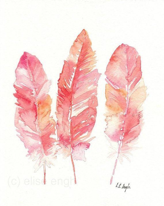 Pink Coral Orange Feathers Illustration Original