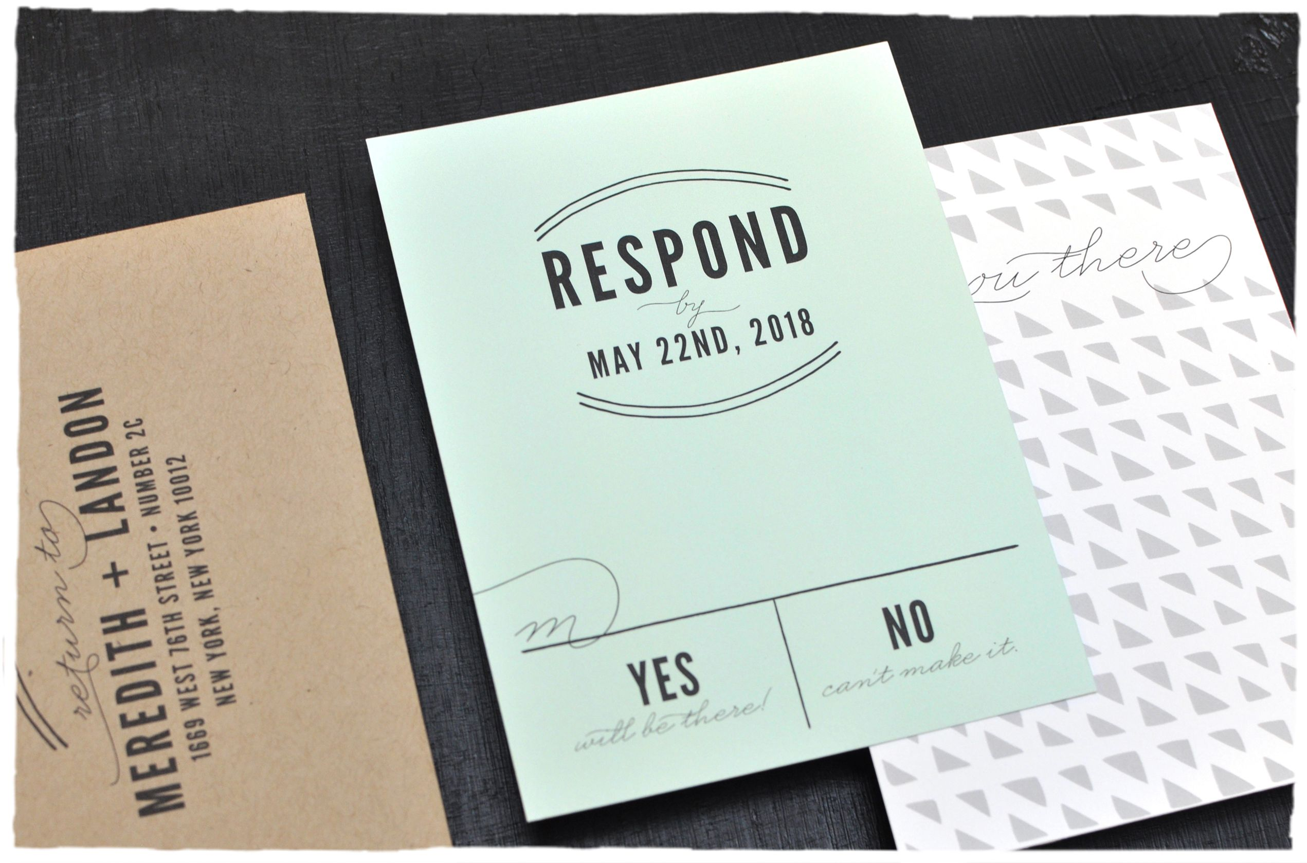 Hudson Wedding Invitation Rsvp Card Hipster Modern Casual And Elegance Invite With Mint