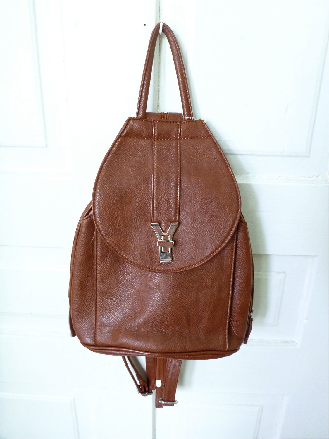 3742af55cef 90s Brown Mini Backpack- Grunge, Preppy, Bag, Purse, Faux Leather ...
