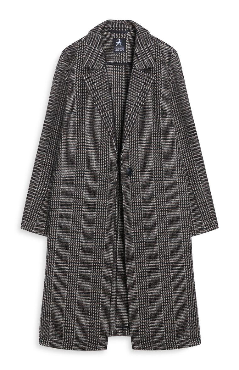 Primark - Manteau gris long à carreaux   M O D E R I E   Pinterest ... e0be609ef7d5