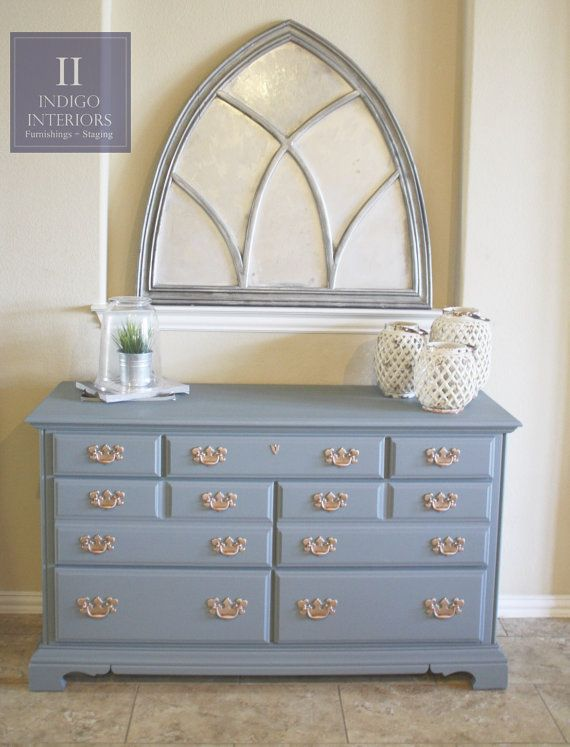 gorgeous blue gray slate dresser buffet console tv stand or changing table with brass style handles