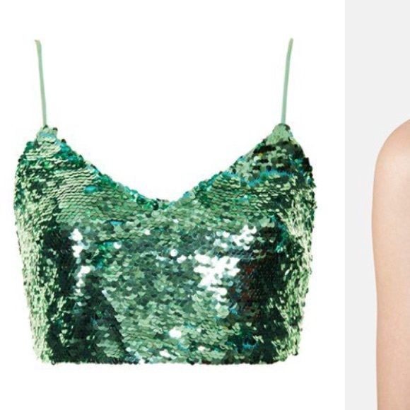 f9f6c3684076e6 Topshop sequin crop top   bralette Worn once. Mint color! Size 10. Topshop.  As you can see in the last pic