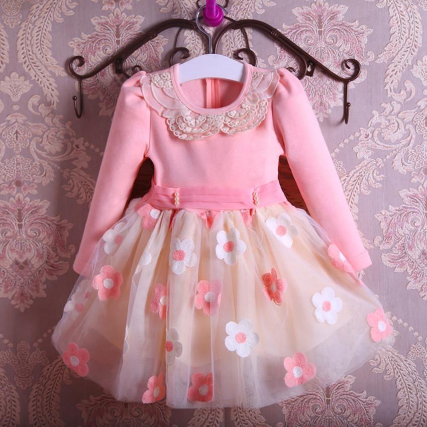 New Autumn Pearls Bow Flowers Girl Party Dress Wedding Birthday ...