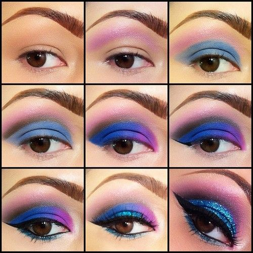 Blue Pink Eyeshadow Look How To Very Pretty Colorful Look
