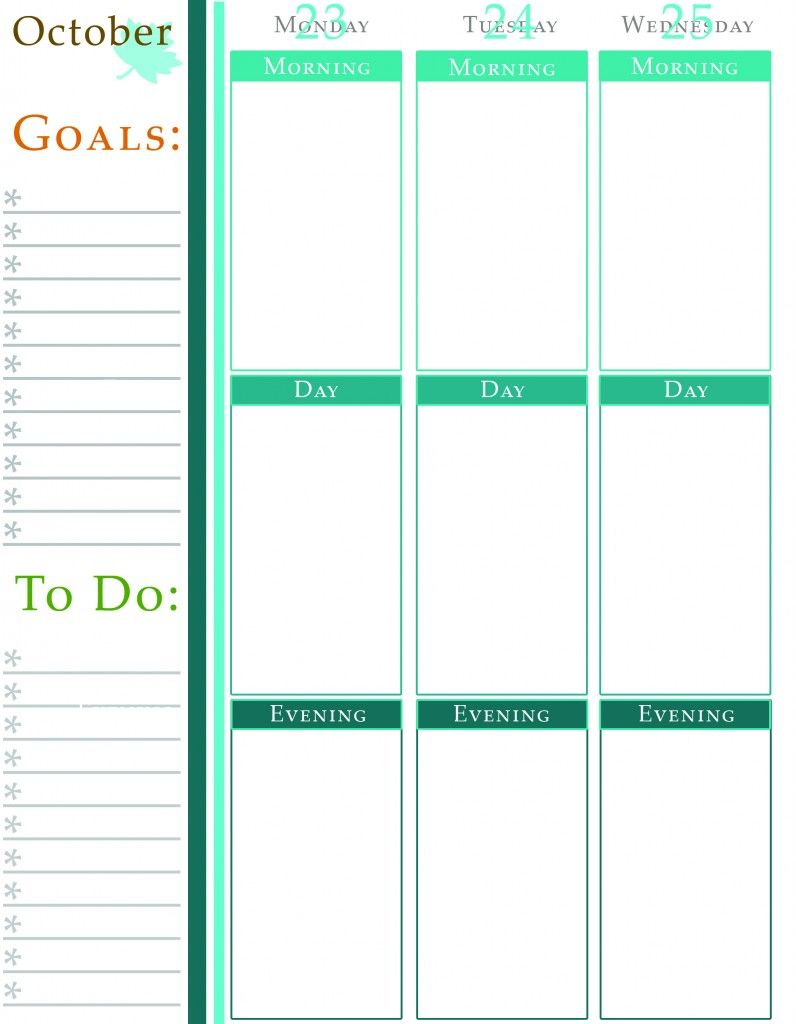 Weekly Calendar With Goals And ToDo List Free Printables  Free