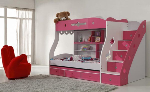 Double Deck Bed Design or Double Bunk Beds for Active Little Girls