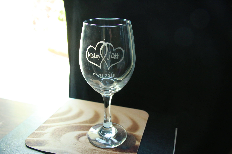 Etched Wine Glass Wedding