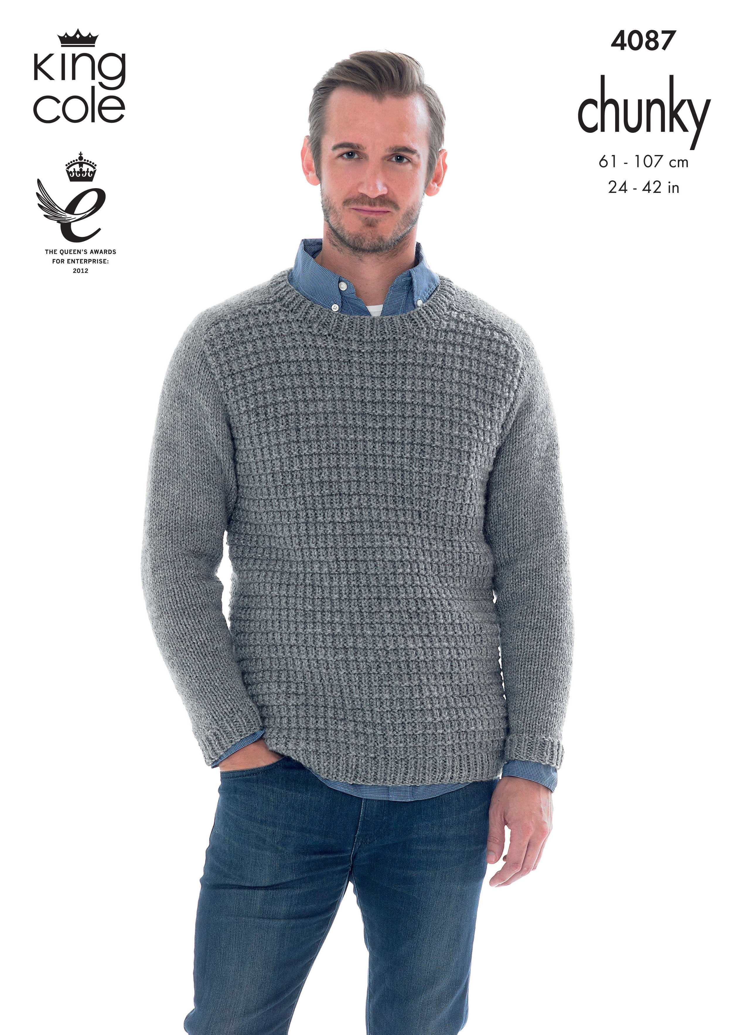 Mens chunky knitted jumper - King Cole | Mens knit sweater ...