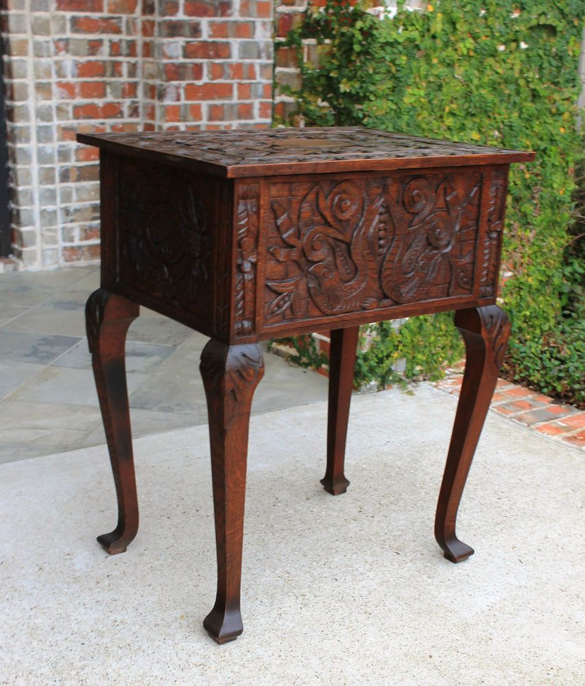 Antique English HIGHLY CARVED Oak Table Sewing Storage Cabinet Pad Feet  Unique