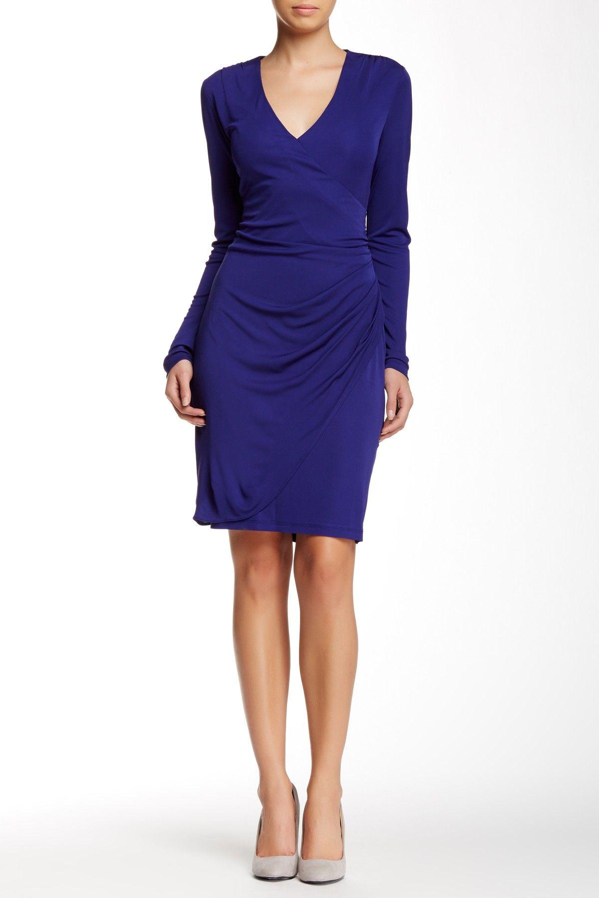 Long Sleeve V-Neck Faux Wrap Dress | Mi estilo, Vestiditos y Estilo