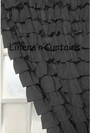 BLACK Ruffle Shower Curtain Egyptian Cotton 1000 Thread Count