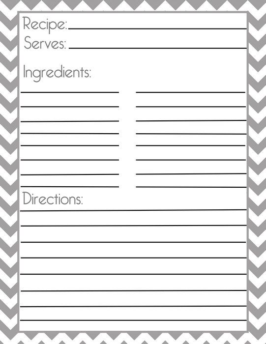EDITABLE Printable recipe card, Template, pdf, recipe sheet - index card template