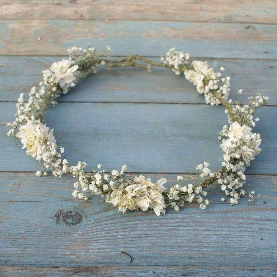 boho purity dried flower crown by the artisan dried flower company | notonthehighstreet.com