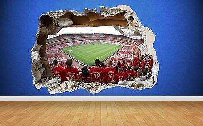 Arsenal Wall Sticker 3d Smashed Emirates Stadium Bedroom Football Boys Art Decal Wall Decals Stickers Home Decor Wall Stickers 3d Boy Art Wall Sticker