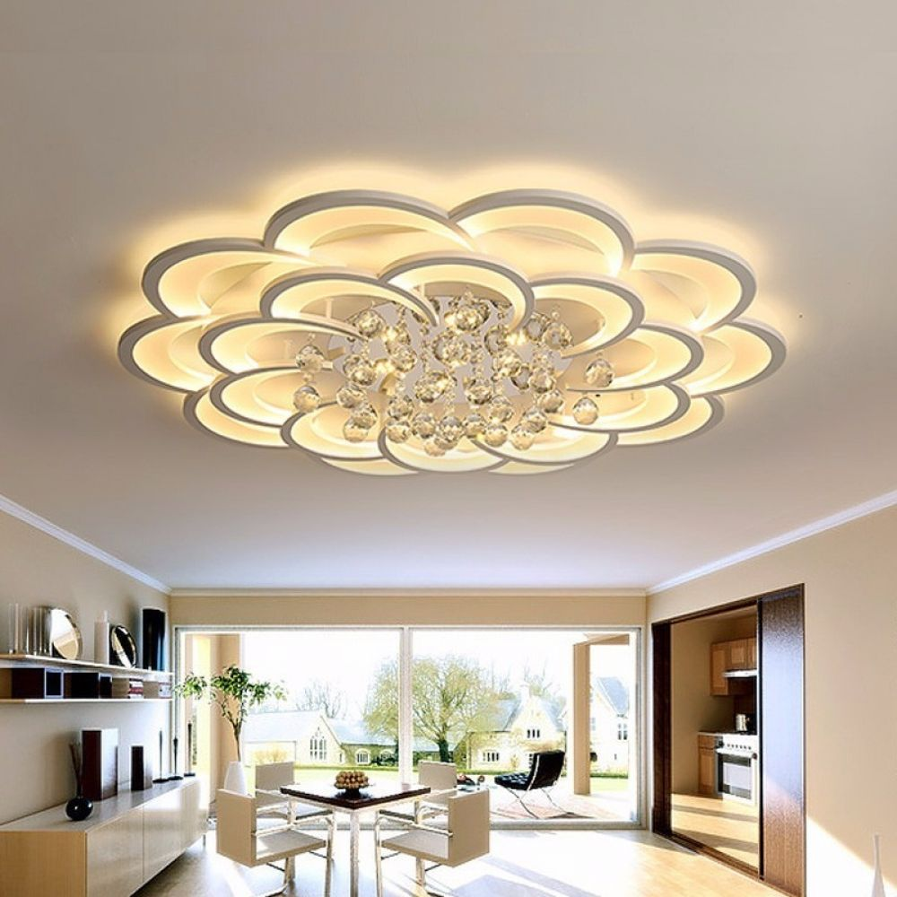 White Modern Led Ceiling Lights Fixture With Remote For Living Dining Room Home Bedroom Plafon Lamp Crystal Lighting Lustre Modern Led Ceiling Lights Ceiling Light Design Ceiling Light Fixtures Living Room