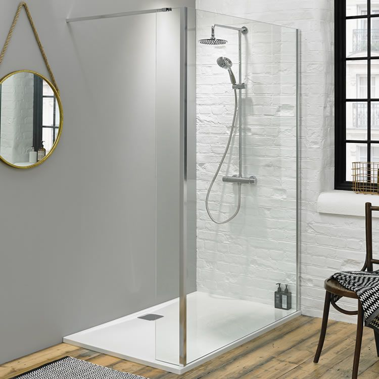 Fino 1000mm Walk In Shower Screen with Return Panel & Shower Tray ...