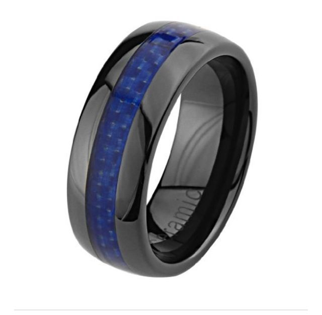 Thin Blue Line These Wedding Bands Are Awesome Whether I Marry A Cop Or Not Blue Wedding Rings Ceramic Wedding Bands Wedding Ring Bands