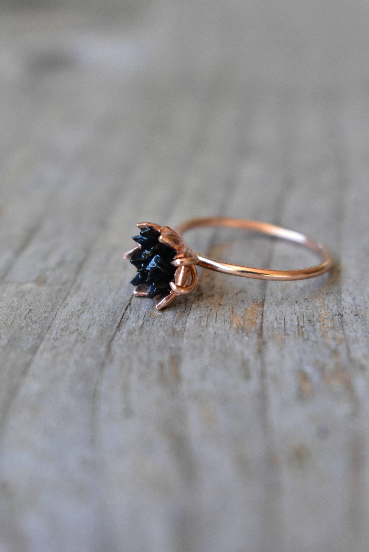 Black Tourmaline Ring Multi Stone Jewelry In 14k Rose Gold Lotus