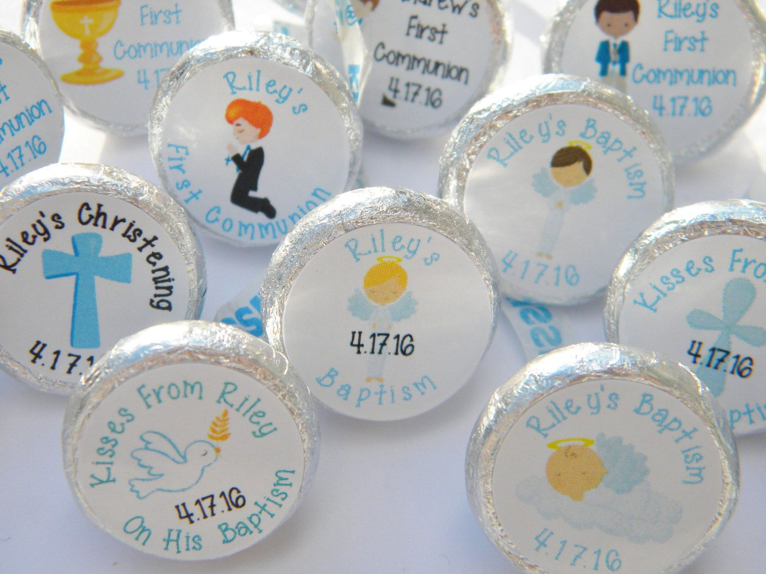 Baptism Favors - Personalized Baptism Hershey Kiss Stickers ...