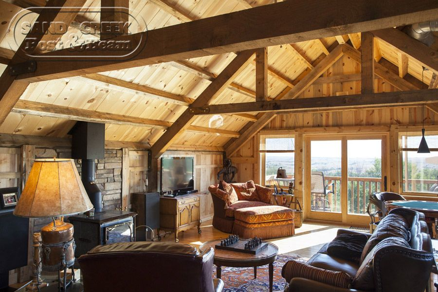 Living Space With Spectacular View Sand Creek Post Beam Barn Living Barn House Barn Loft Apartment
