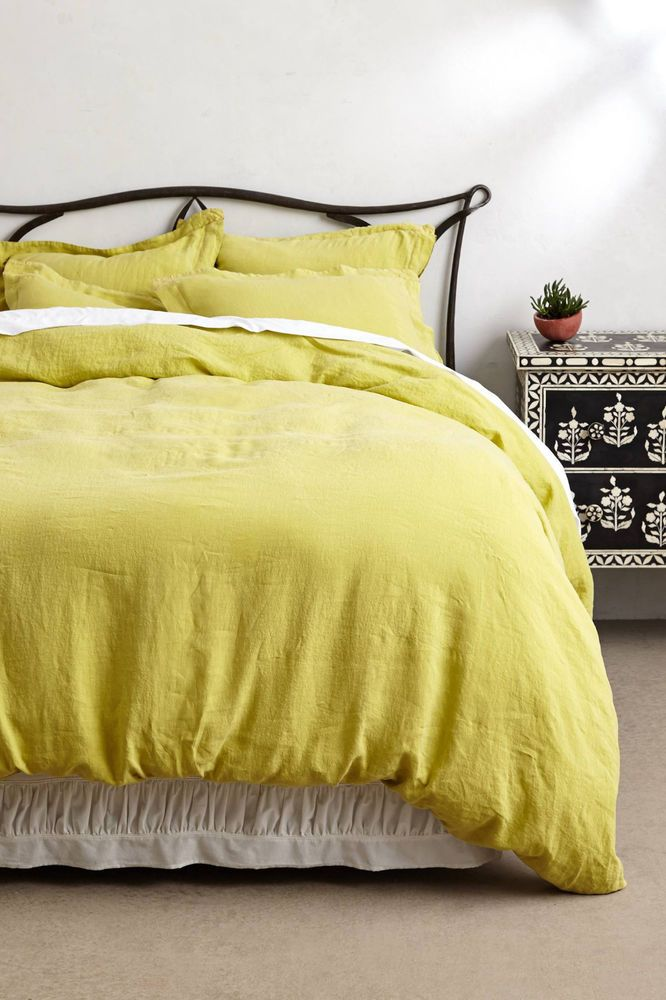 Anthropologie Soft Washed Linen Duvet Cover Queen Chartreuse