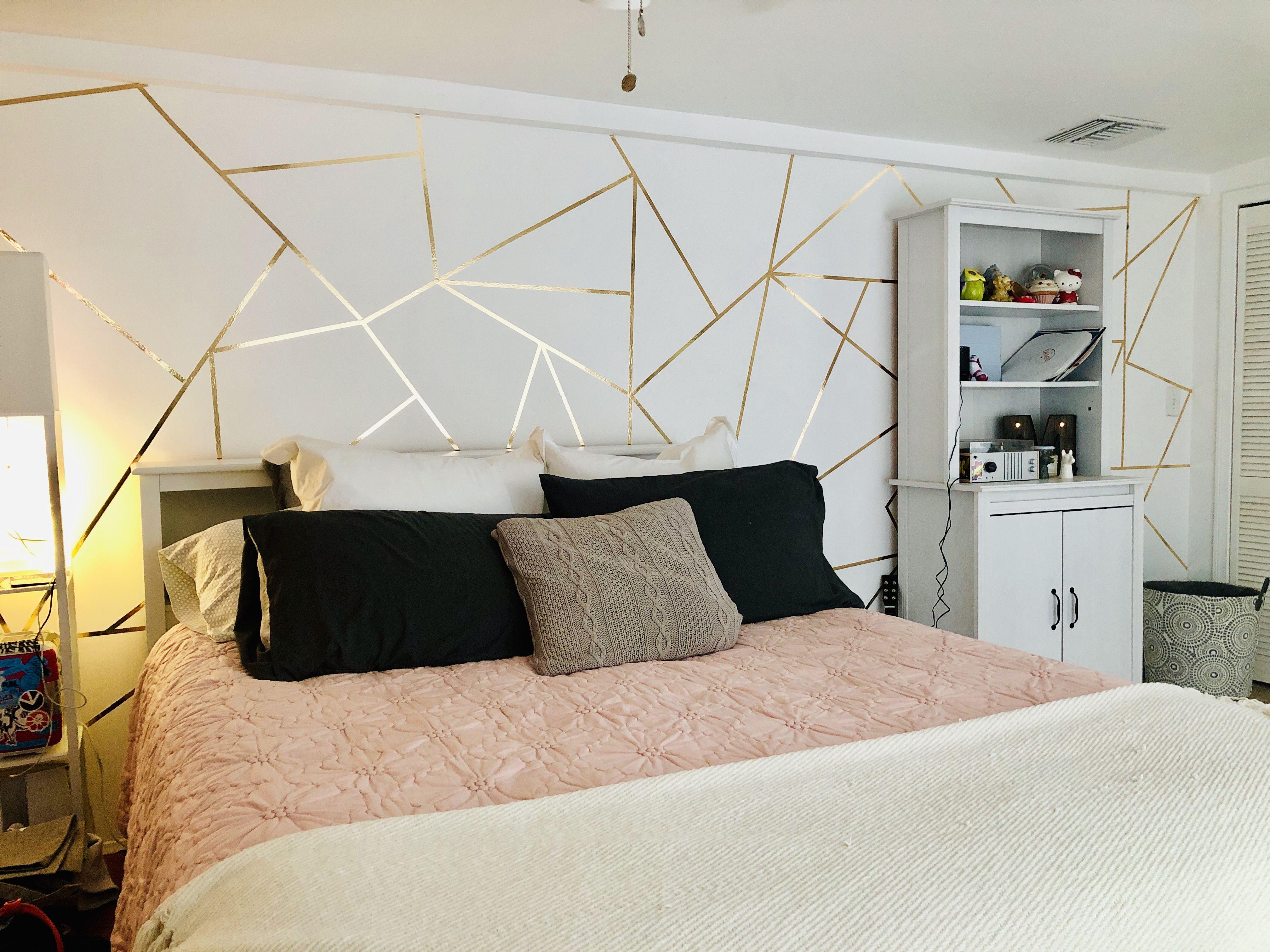 Geometric Bedroom Statement Wall Gold Washi Tape Washi Tape