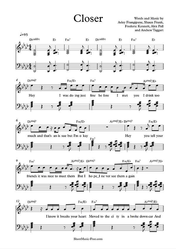 Closer Sheet Music The Chainsmokers Partituras Free