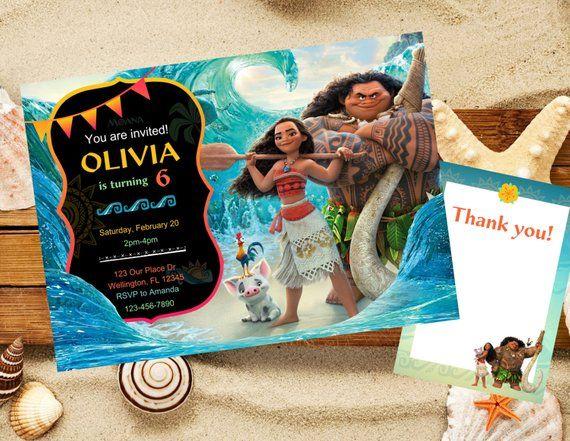 Moana Invitation Birthday Disney Party Printa