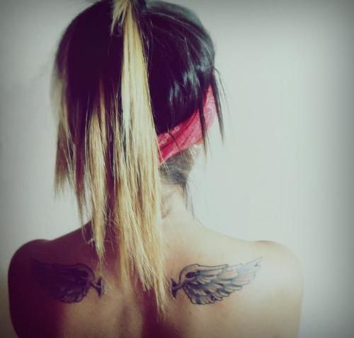 shoulder blade tattoo wings tattoos pinterest one shoulder hair and tattoo wings. Black Bedroom Furniture Sets. Home Design Ideas