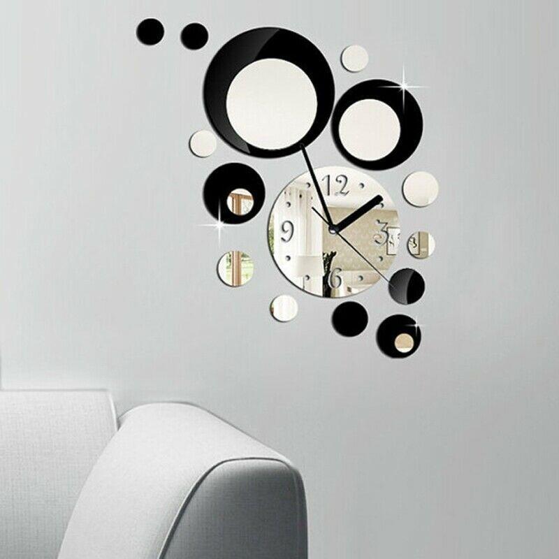Removable 3D Mirror Sticker Wall Clock Decal Vinyl Art Home Wall Mural Clock