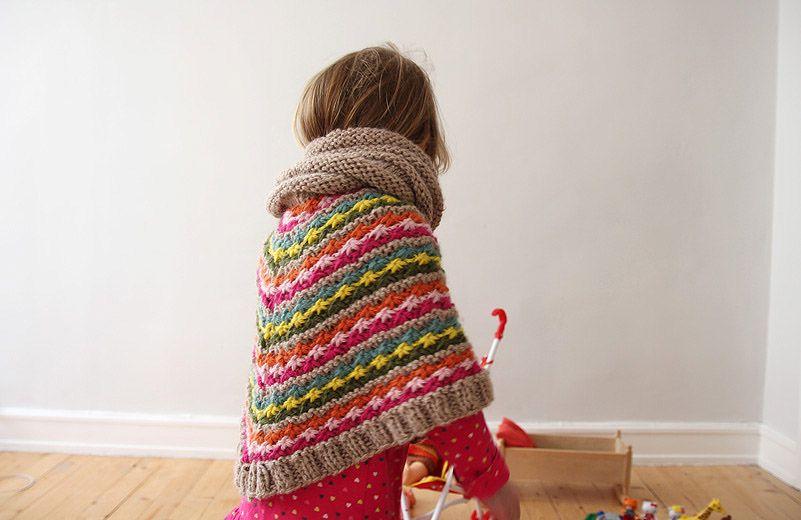 yarn over knitting poncho kinder kinderponcho stricken. Black Bedroom Furniture Sets. Home Design Ideas