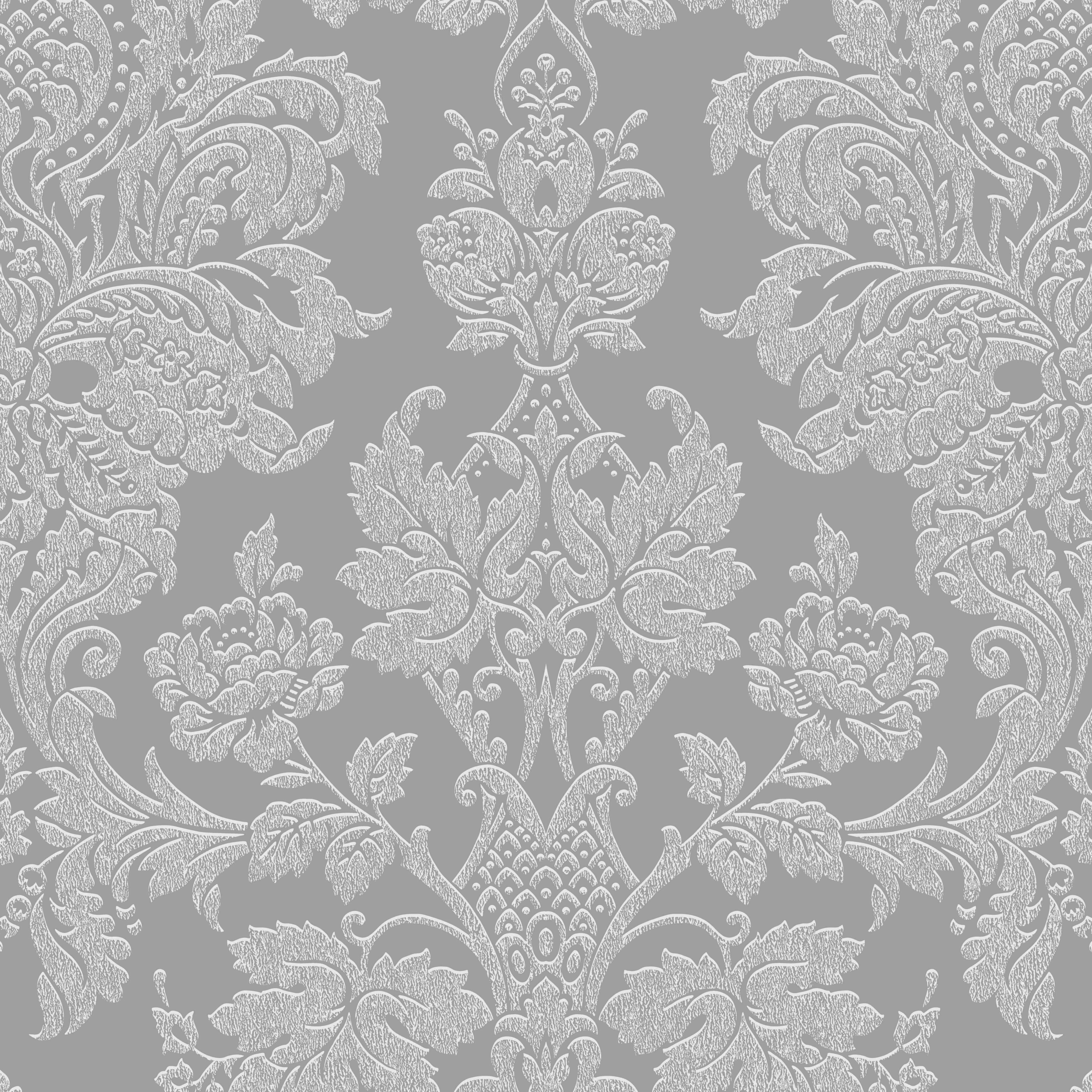 Buckingham Silver Damask Metallic Wallpaper Departments Diy At B Q