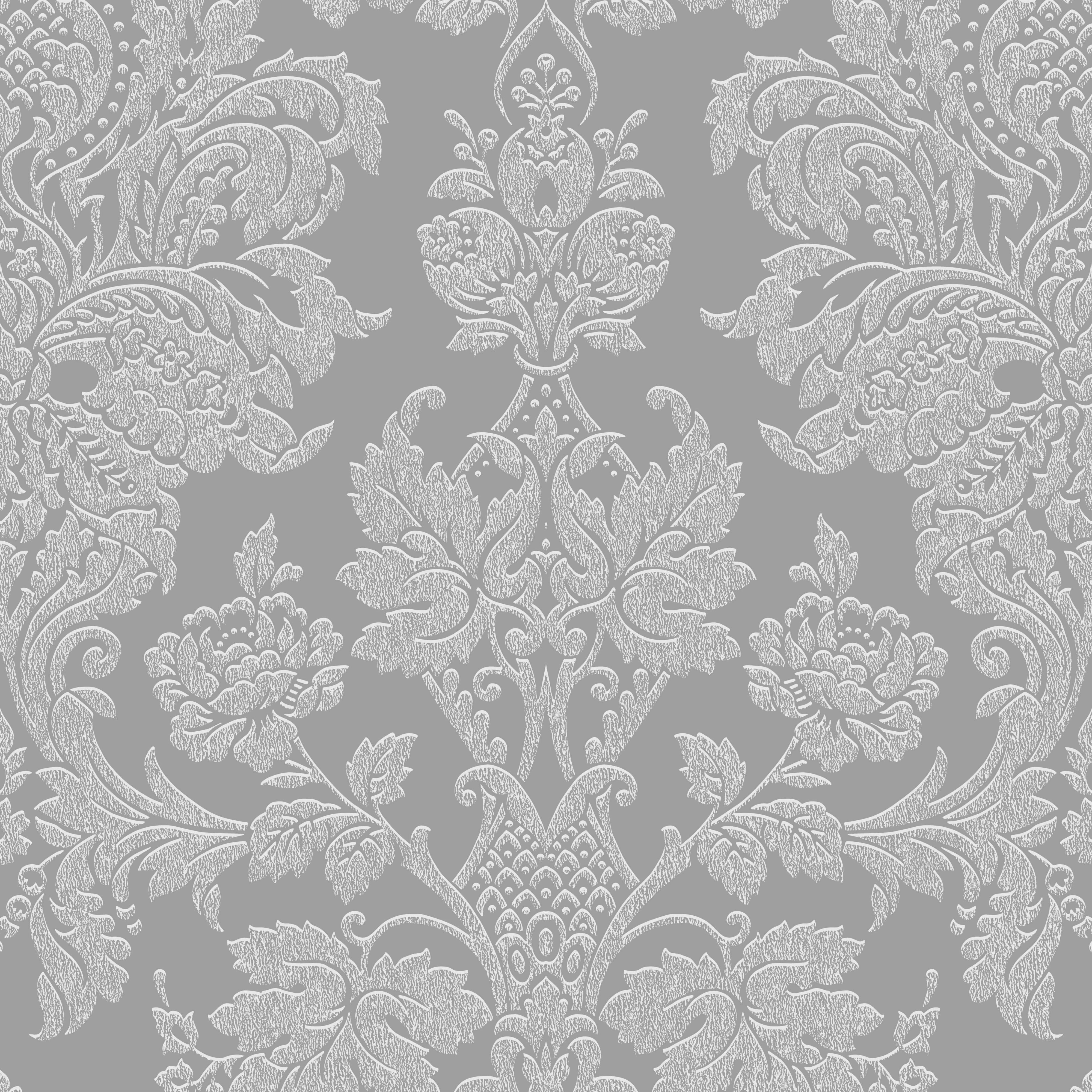 Graham Brown Fibrous Buckingham Silver Damask Metallic Wallpaper