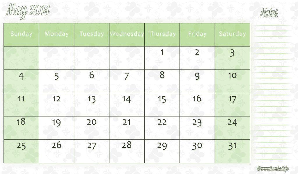 Free Printable May 2014 Calendar Printable Calendar 2014