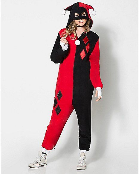 ea41e0d977 Harley Quinn Dropseat Hooded Adult Onesie Pajamas - Spencer s