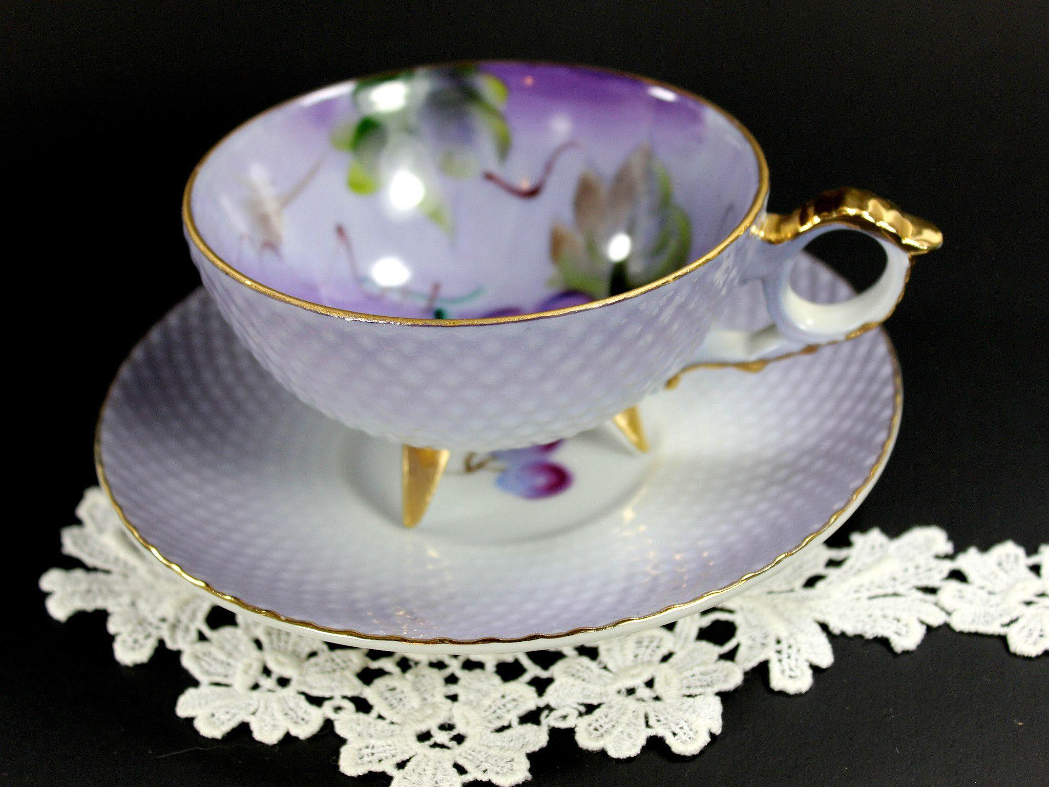 Lefton Three Footed Teacup, Hand Painted Vintage Tea Cup and Saucer 12 – The Vintage Teacup