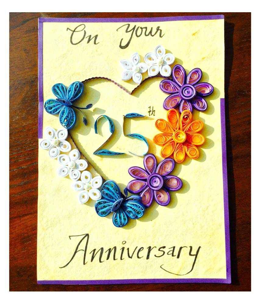 Bonitahub Multicolour Happy 25th Anniversary Card Buy Ideas 2019