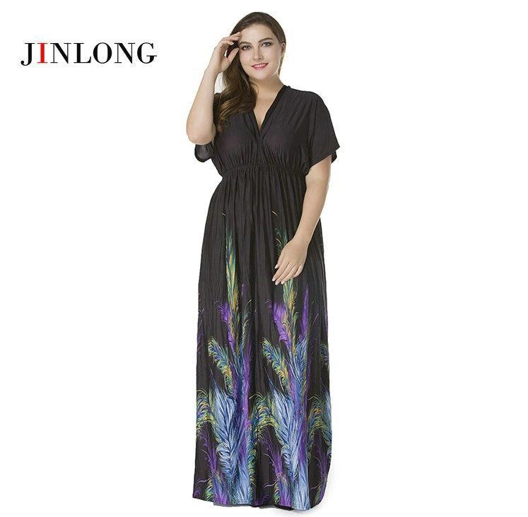Beach Dresses Large Sizes Women Plus Size V Neck Short Sleeve Backless  Bohemian Floral Print Long 715e3a04f6e6