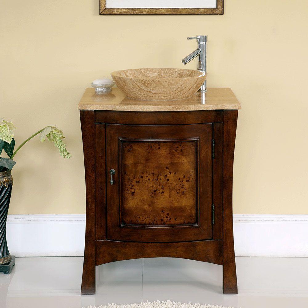 Photo Image  inch Bathroom Vessel Vanity Travertine Top Single Stone Sink Cabinet TR