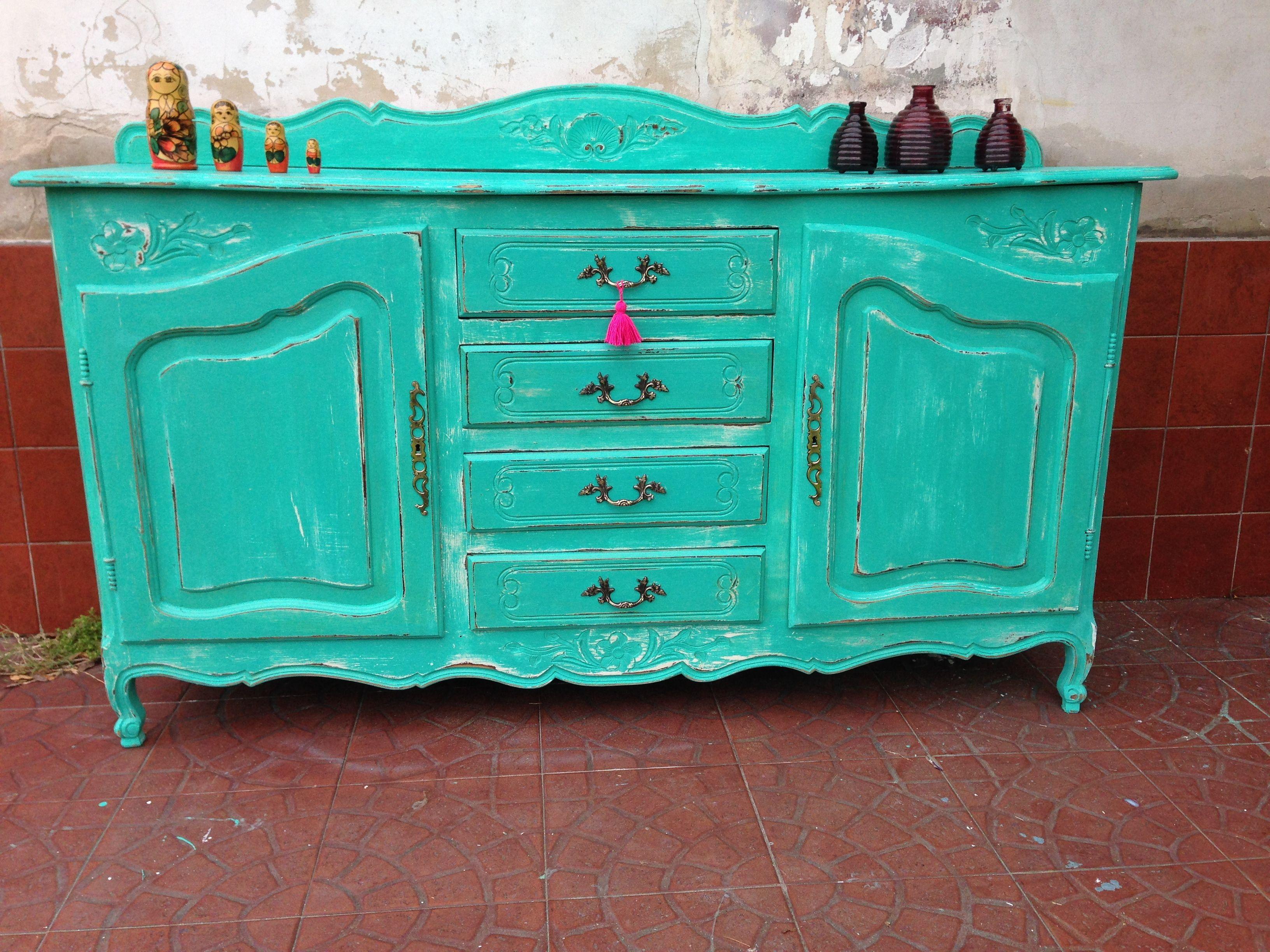 Mueble provenzal turquesa decapado muebles vintouch de for Mueble provenzal frances