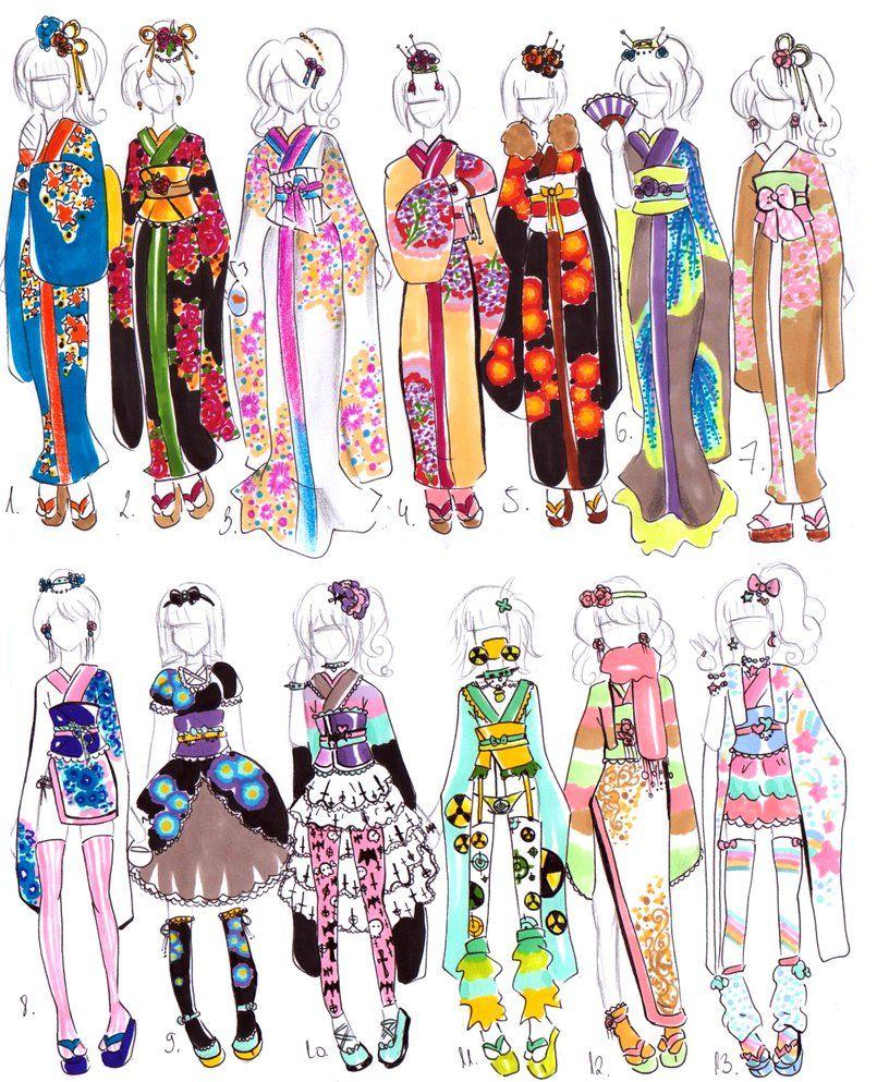 Character Design Kimono : Kimono designs closed by bejja on deviantart sketch it