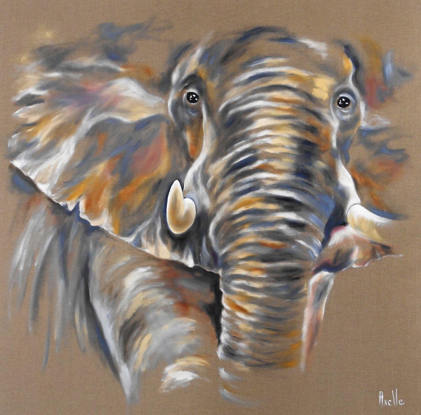 Tableau 3d D Un Elephant D Afrique Solitaire Vu De Face Peintures Par Peintures Axelle Bosler Peinture D Elephant Dessin Elephant Art Elephant