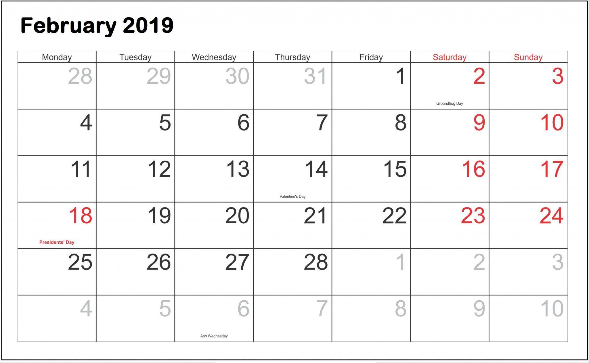 February 2019 Calendar National February 2019 Calendar With National Holidays   125+ February 2019