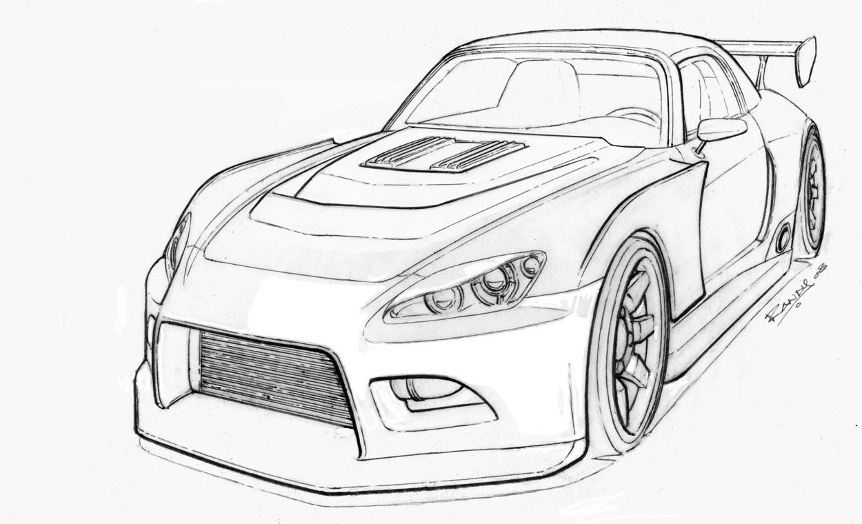 Honda S 2000 Car cartoon Drift cars Cars coloring pages