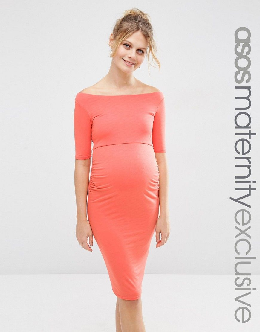 Asosmaternitybardotdresswithhalfsleeve belly bump fashion buy dark orange asos maternity jersey dress for woman at best price compare dresses prices from online stores like asos wossel global ombrellifo Choice Image